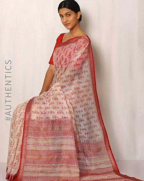 Hand Block Print Maheshwari Saree By Indie Picks ( White ) - 460017080001
