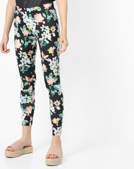 Floral Print Leggings By Project Eve WW Athleisure ( Black )