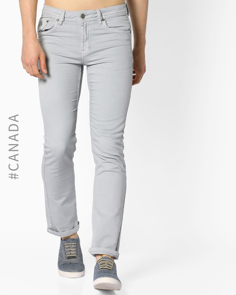 Mid-Rise Classic Fit Jeans By Point Zero ( Ice )