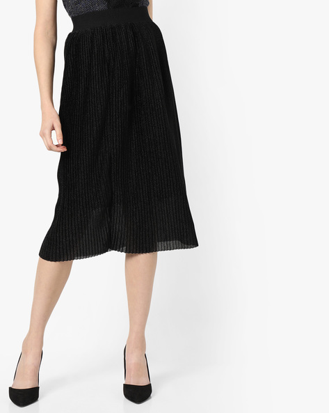 Pleated Midi Skirt By Project Eve WW Evening ( Black )