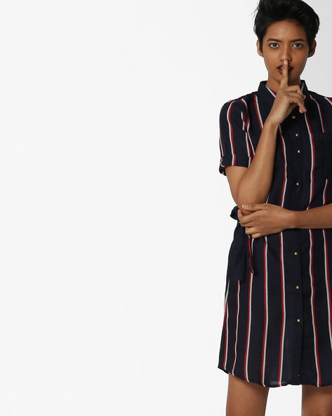 Striped Shirt Dress With Patch Pockets By FIG ( Navy )