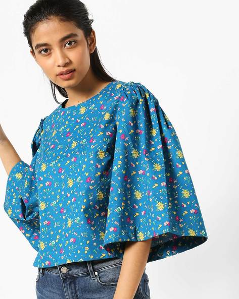 Floral Print Top With Flared Sleeves By AJIO ( Teal )