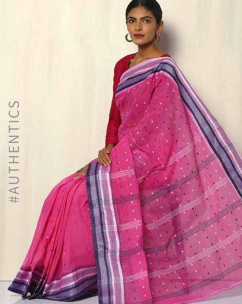 Bengal Handloom Tant Tangail Buti Cotton Saree By Indie Picks ( Pink )