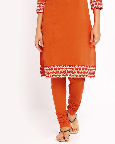 Stretch Churidar Pants By AJIO ( Orange )