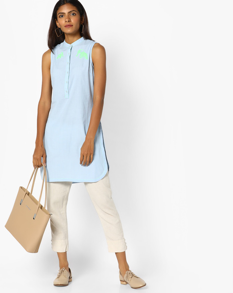 Sleeveless Tunic With Mandarin Collar By AJIO ( Blue )