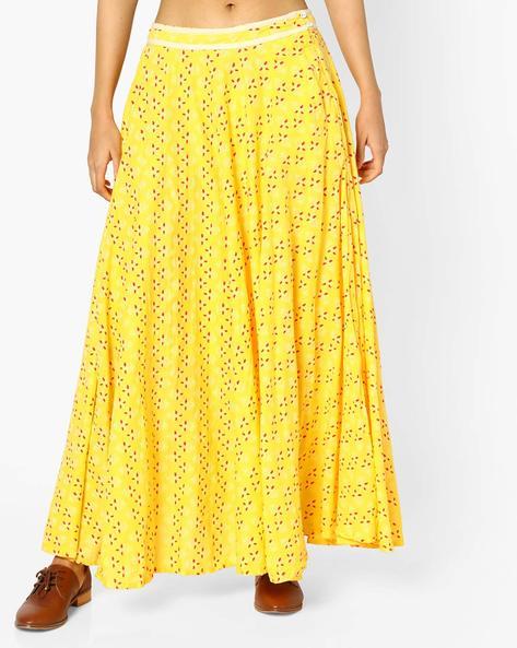 Printed Flared Maxi Skirt By AJIO ( Yellow )
