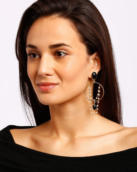 Gold-Plated Drop-Earrings With Beads By Ssoul ( Black )