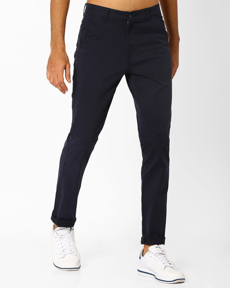 Slim Fit Flat-Front Trousers By Nature Casuals ( Navyblue )