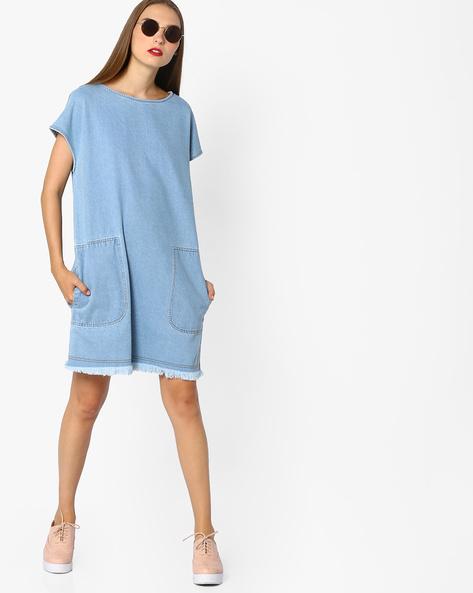 Denim Shift Dress With Insert Pockets By AJIO ( Lightblue )