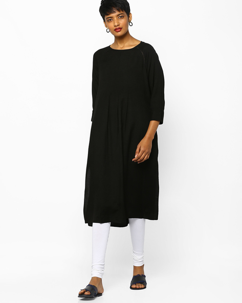 Pleated Kurta With Step Hem By Project Eve IW Casual ( Black )