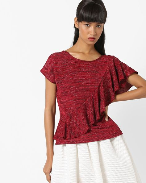 AJIO WOMEN TOPS, RED, XS By AJIO ( Red )