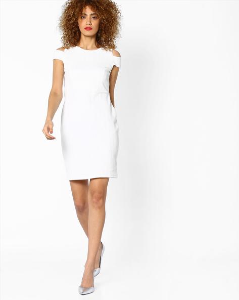 Cold-Shoulder Bodycon Dress By AJIO ( White )