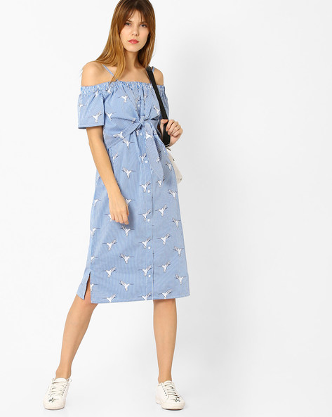 Striped Strappy Tie-Up Dress By Evah London ( Blue )