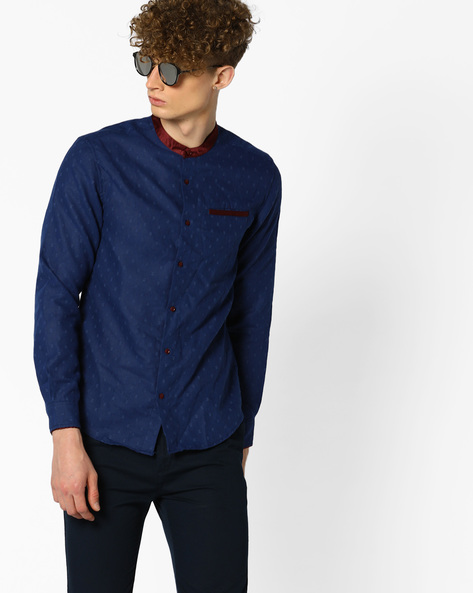 Patterned Slim Shirt By The Indian Garage Co ( Navy )