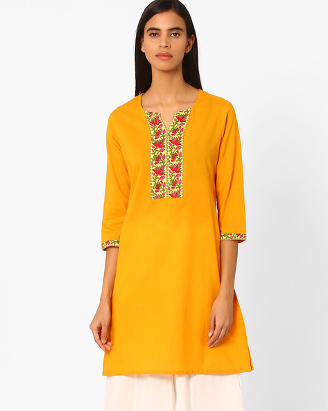 Straight Kurta With Contrast Taping By Rangmanch By Pantaloons ( Yellow )