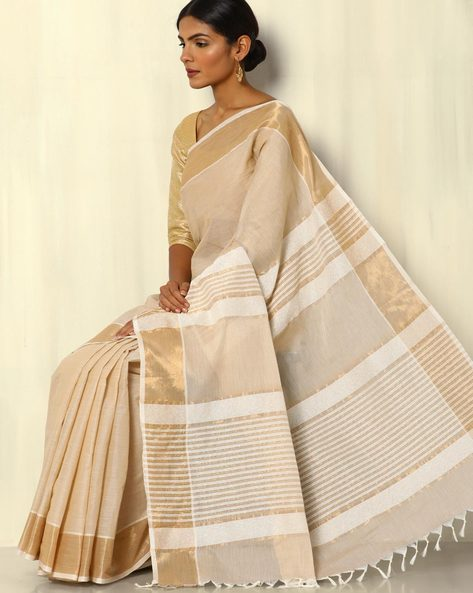 South Cotton Saree With Zari Border And Striped Pallu By Indie Picks ( Beige )