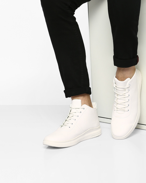 Mid-Top Lace-Up Sneakers By AJIO ( White )