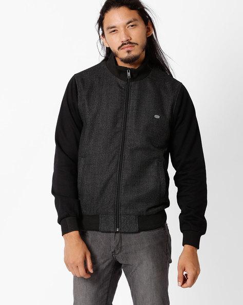 Regular Fit Bomber Jacket By NETPLAY ( Black )