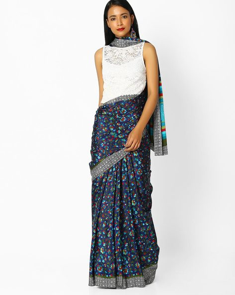 Floral Printed Saree With Contrast Border By Majestic Silk ( Blue )