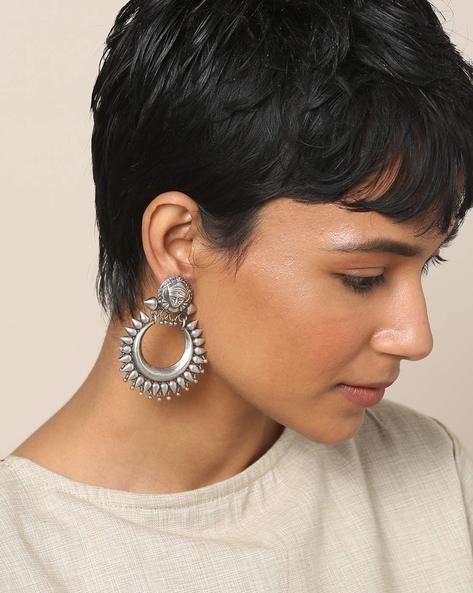 Oxidised Brass Earrings By Indie Picks ( Silver )