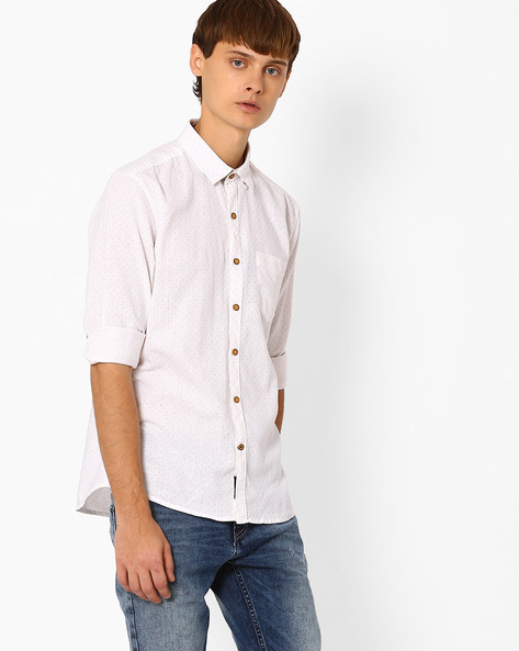 Printed Slim Fit Shirt By NETPLAY ( Offwhite )