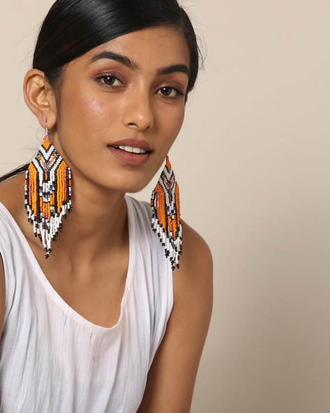 Statement Beaded Dangler Earrings By Indie Picks ( Multicolour ) - 460167629001