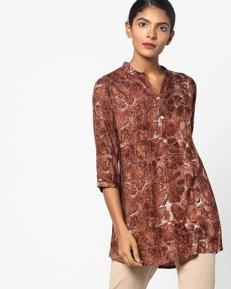 HD Print Tunic With Button Placket By SOCH ( Brown )