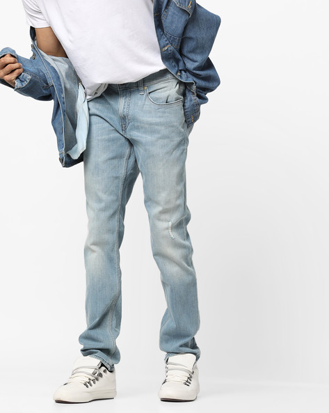 Mid-Rise Slim Fit Distressed Jeans By Lee ( Blue )