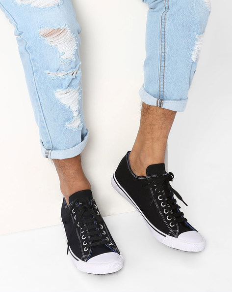 Canvas N9-Treated Classic Sneakers By AJIO ( Black )