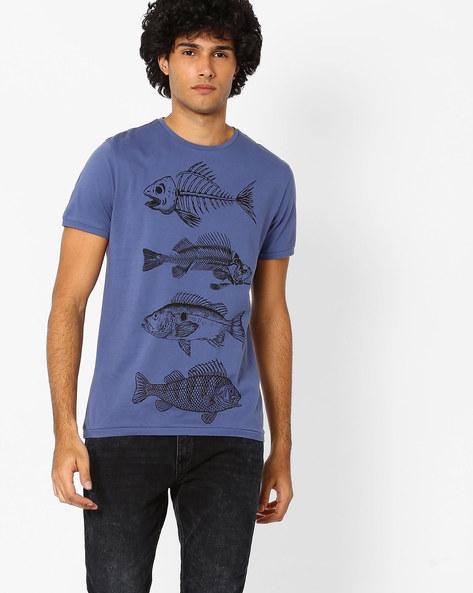 Printed Crew-Neck T-shirt By AJIO ( Blue )