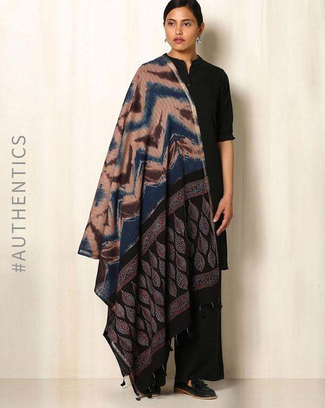 Ajrak Handblock Print Shibori Cotton Dupatta By Indie Picks ( Indigo ) - 460045127001