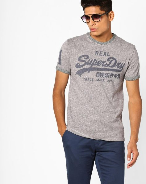 Crew-Neck T-shirt With Printed Branding By SUPERDRY ( Aj7 )
