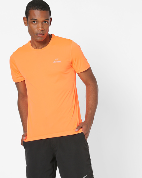 Crew-Neck T-shirt With Embroidered Branding By ALCIS ( Orange )