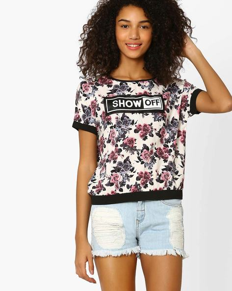 Floral Print Top By RIO ( White )