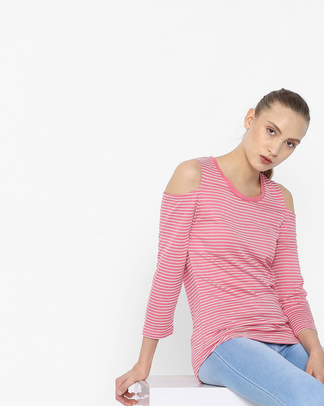 Striped Cold-Shoulder Top By KRAUS ( Pink )