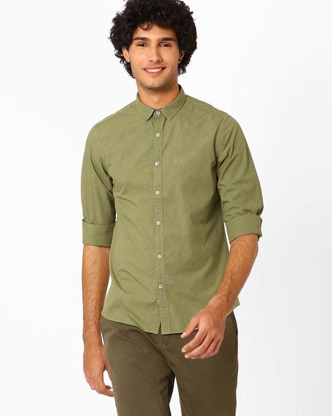 Printed Slim Fit Shirt By AJIO ( Yellow )