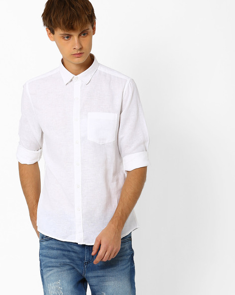 Linen Shirt With Patch Pocket By NETPLAY ( White )