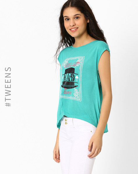 Graphic Print Top With Cap Sleeves By AJIO ( Aqua )