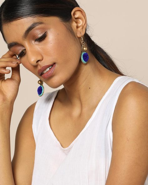 Beaded Dangler Earrings With Pompom By Indie Picks ( Blue )