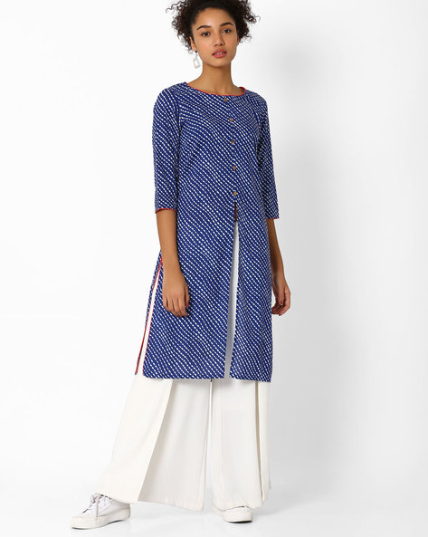 Printed Straight Cotton Kurta By AJIO ( Blue )