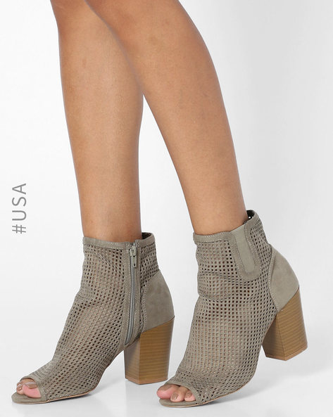 Chunky Heels With Zipper Closure By QUPID ( Khaki )