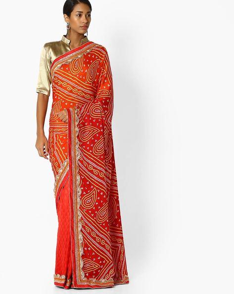 Printed Half & Half Saree By Shonaya ( Red )