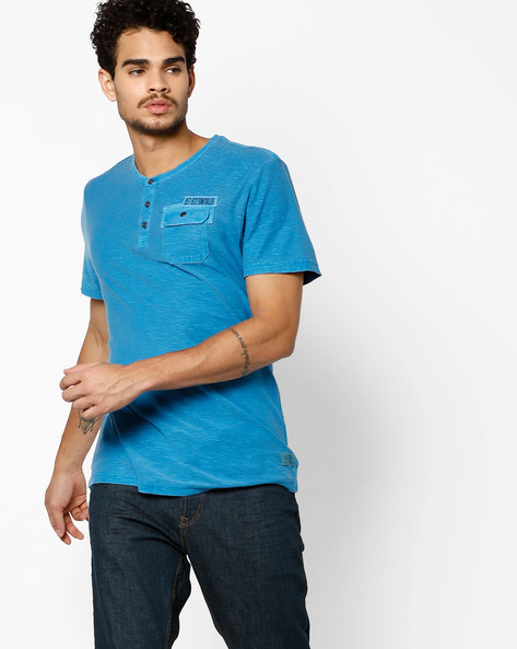 Henley T-shirt With Flap Pocket By Tom Tailor ( Blue )