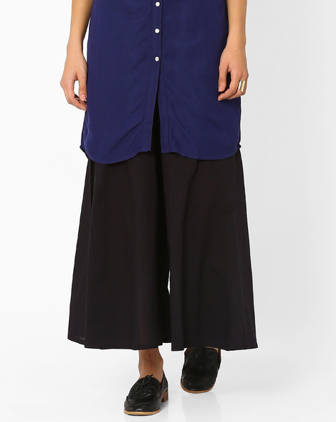 Low-Rise Palazzo Pants With Drawstring Fastening By Juniper ( Black )