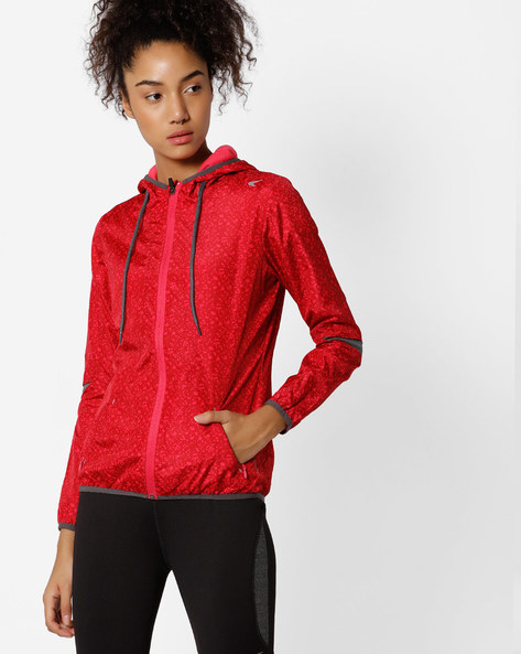 Hooded Printed Fitness Jacket With Quick Dry By PERFORMAX ( Pink )