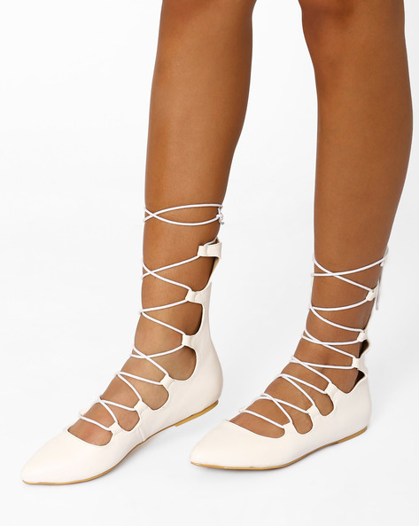Lace-Up Flat Shoes By AJIO ( Beige )
