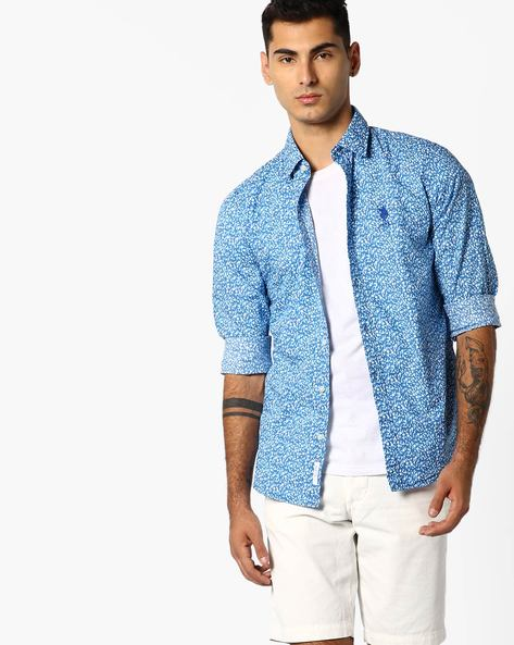 Floral Print Cotton Shirt By US POLO ( Dkblue )