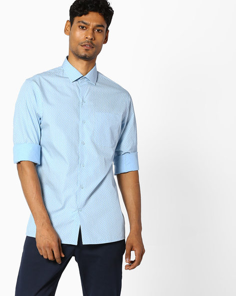 Micro Print Slim Fit Cotton Shirt By JOHN PLAYERS ( Blue )
