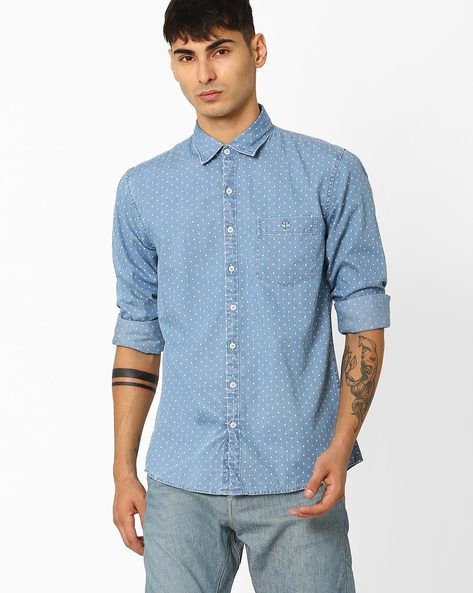 Slim Fit Printed Casual Shirt By CRIMSOUNE CLUB ( Blue )