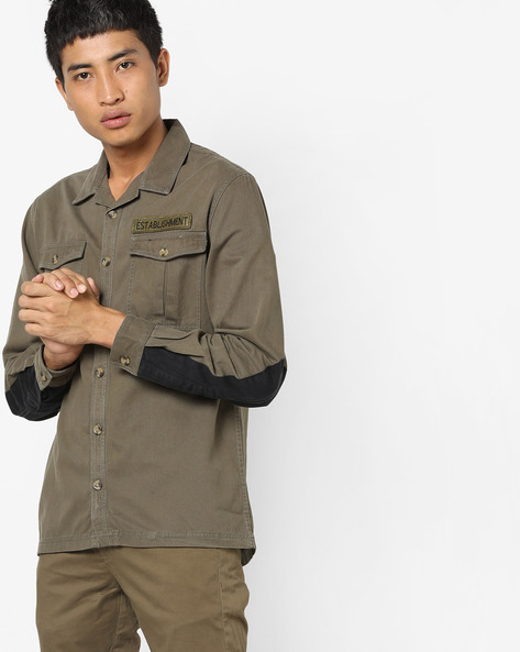 Cotton Shirt With Flap Pockets By ADAMO LONDON ( Olive )